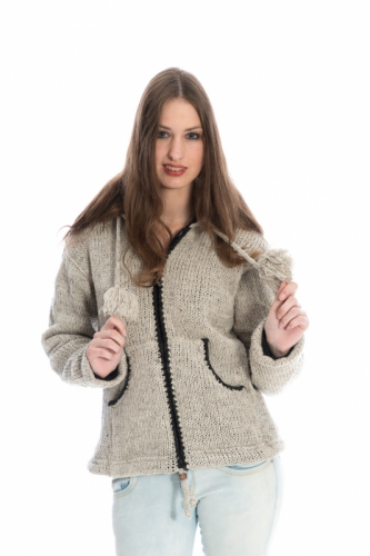 vest wol dames naturel